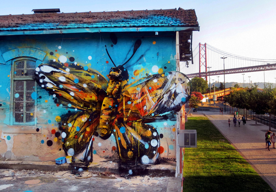 Bordalo II -  street art Papillon